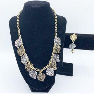 Lucky Brand Leaf Necklace And Bracelet Set